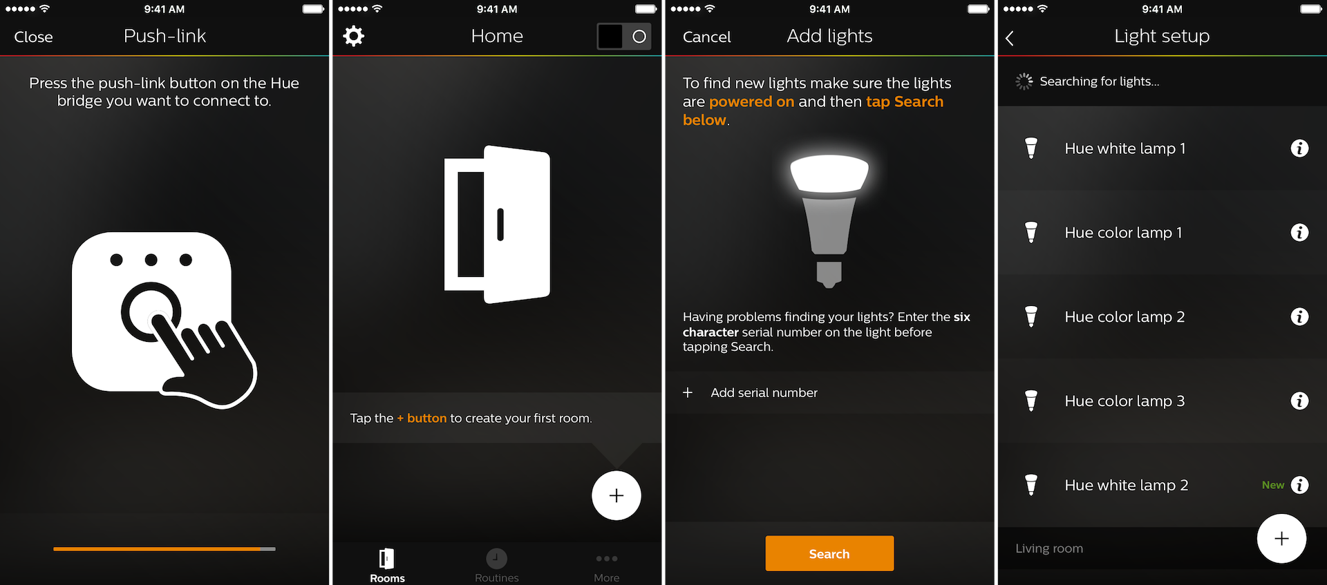 philips-hue-app-bridge-push-link-button-creating-room-and-adding-lights