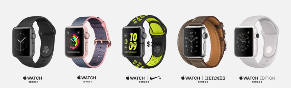 Apple Watch Series 1 Series 2 lineup