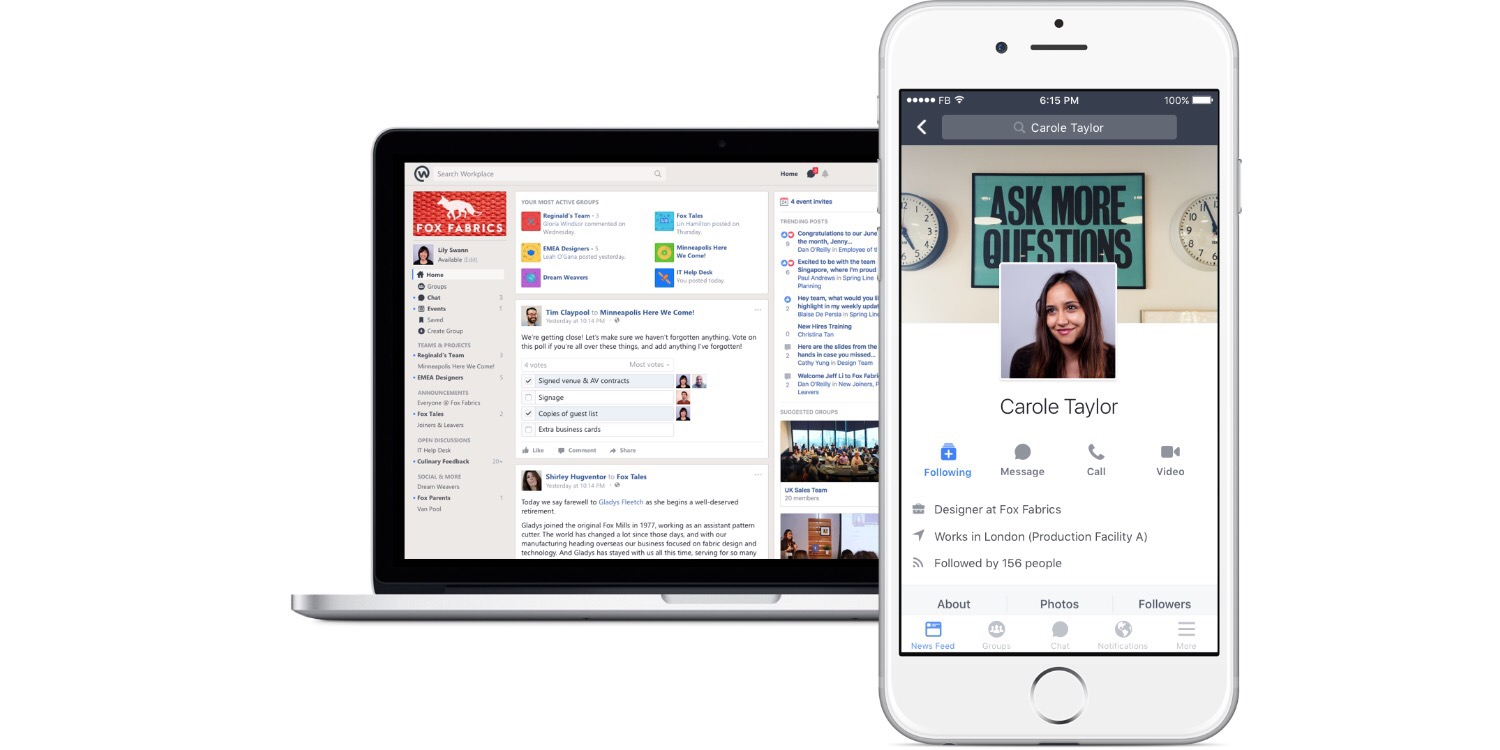 Facebook Workplace on Desktop and iOS