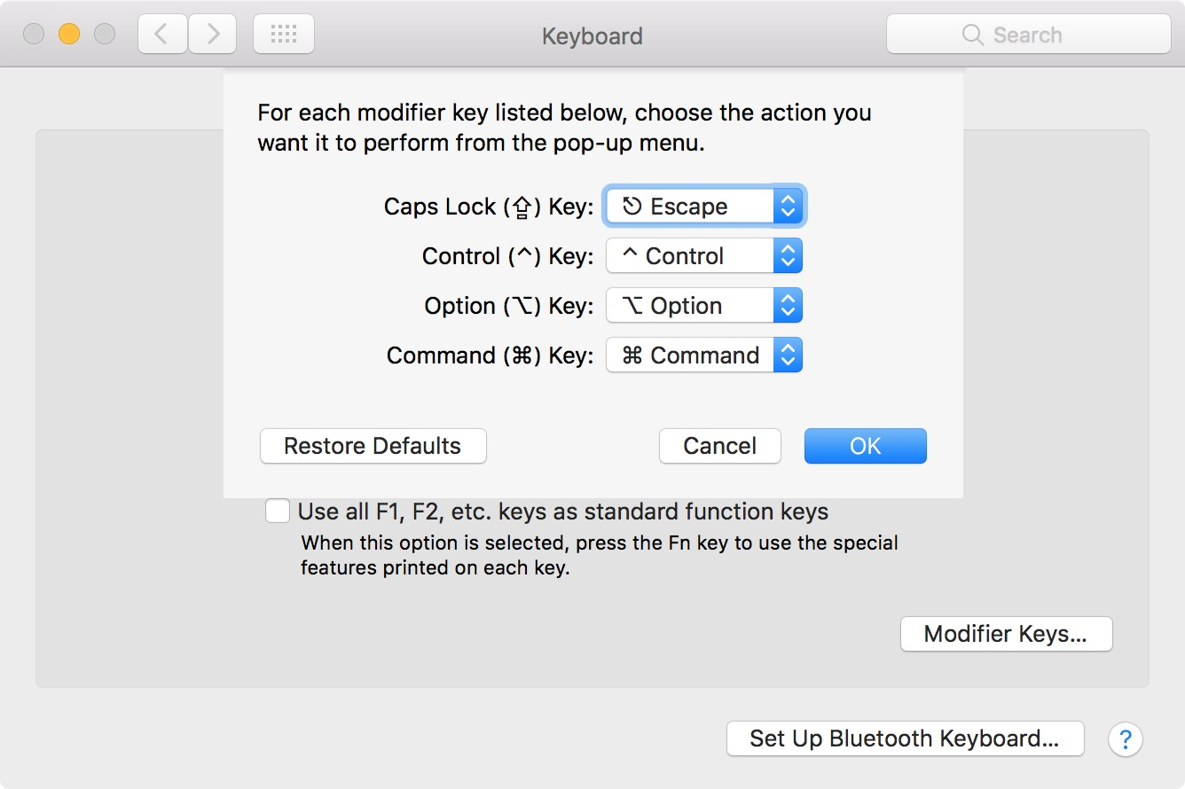 how to assign keys mac