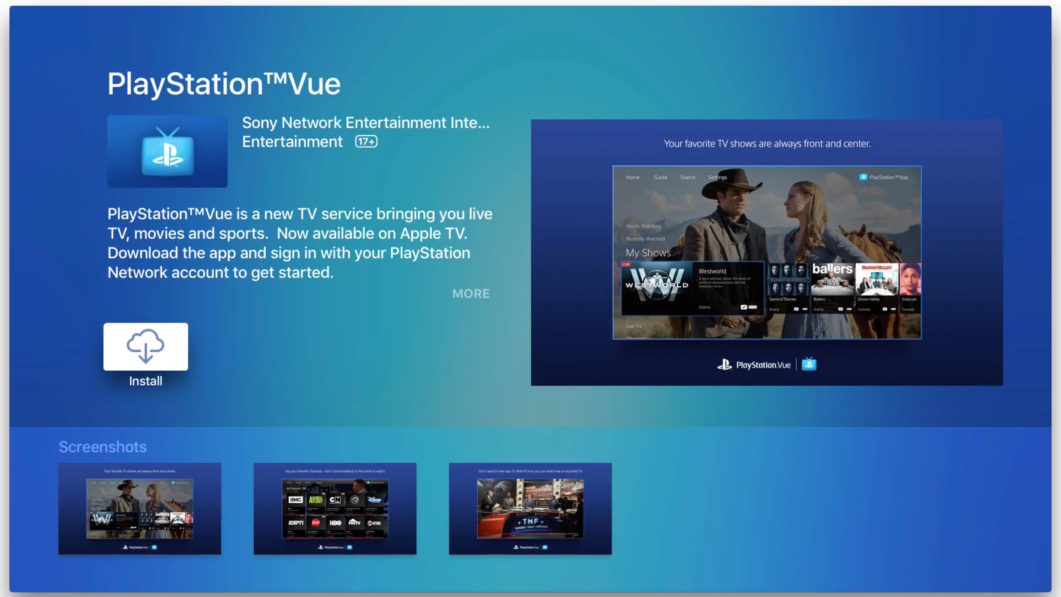 playstation vue updated with tv app integration on ios tvos