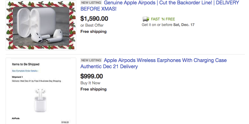 Apple Airpods Already On Ebay Highest Asking Price Hits 1590 9to5mac