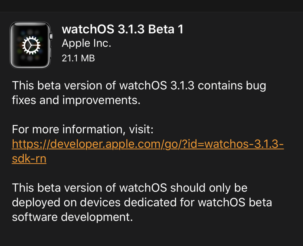 watchos 3.1.3 beta 1