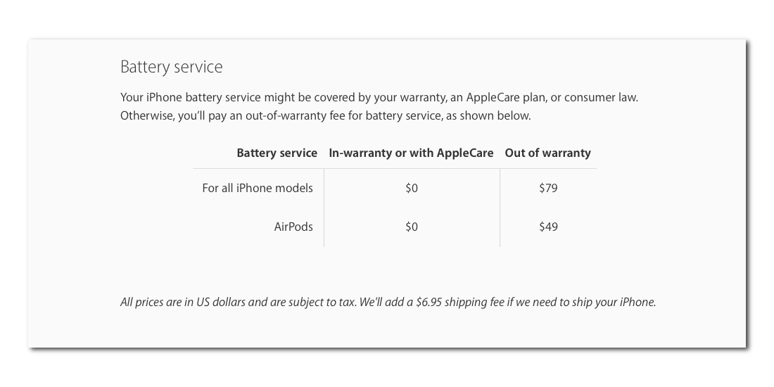 iPhone Service Pricing