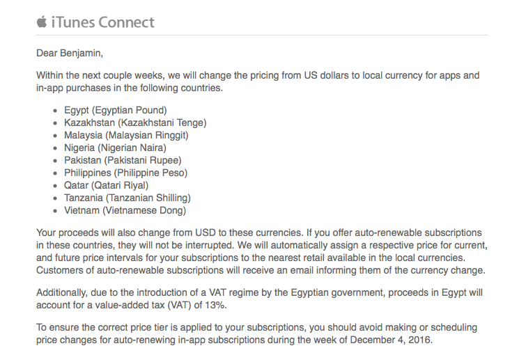 Apple's App Store switching from USD pricing to local currency for