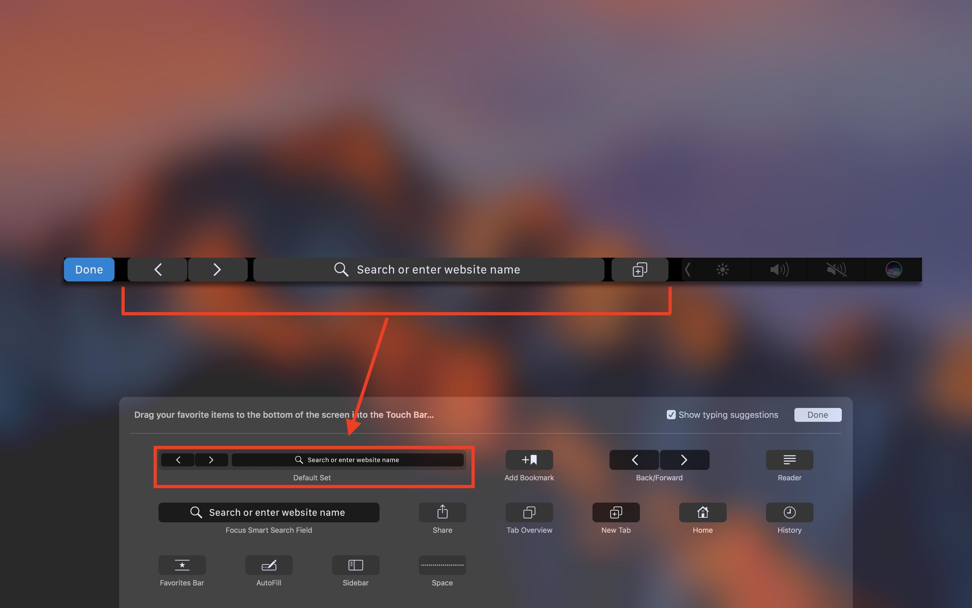 Safari Workflow Touch Bar - Customizing Touch Bar