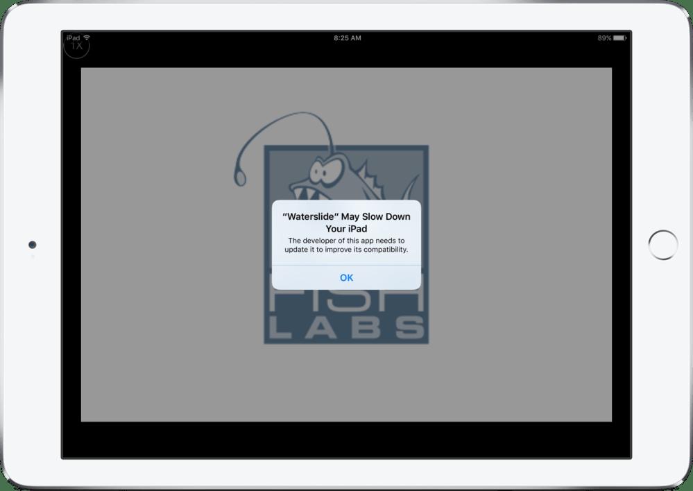 iOS 10.2.1 32-bit alert dialog