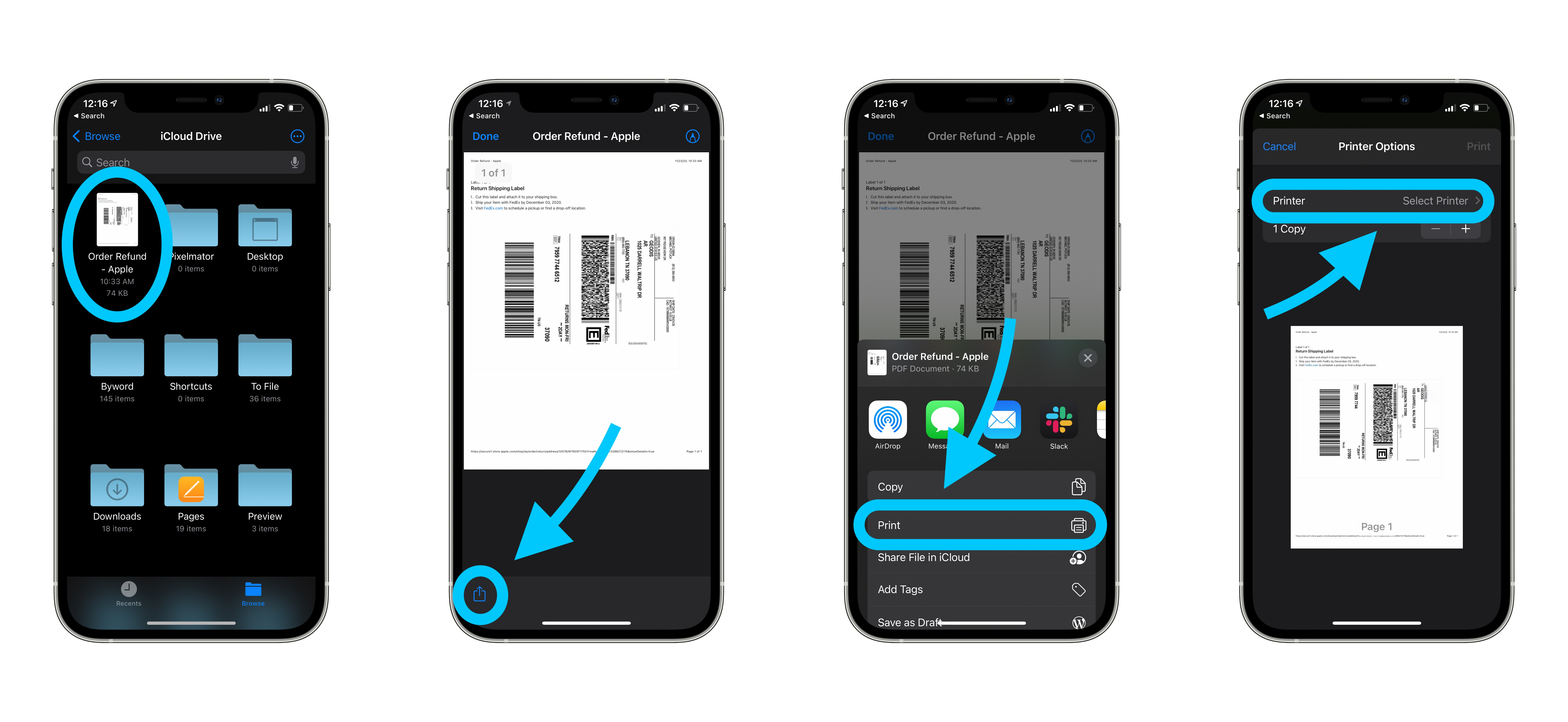 How to print from iPhone iPad with or without AirPrint walkthrough 1