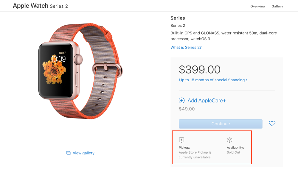 Apple Watch Series 2 sold out