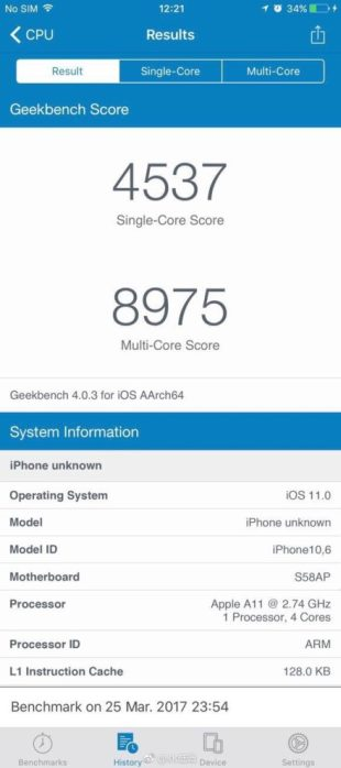 Fake iPhone 8 Geekbench Results