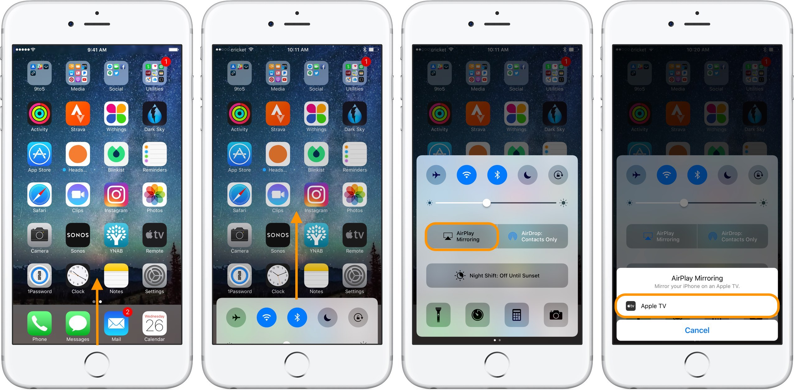 Image showing how to enable mirroring from iPhone or iPad to a TV with AirPlay