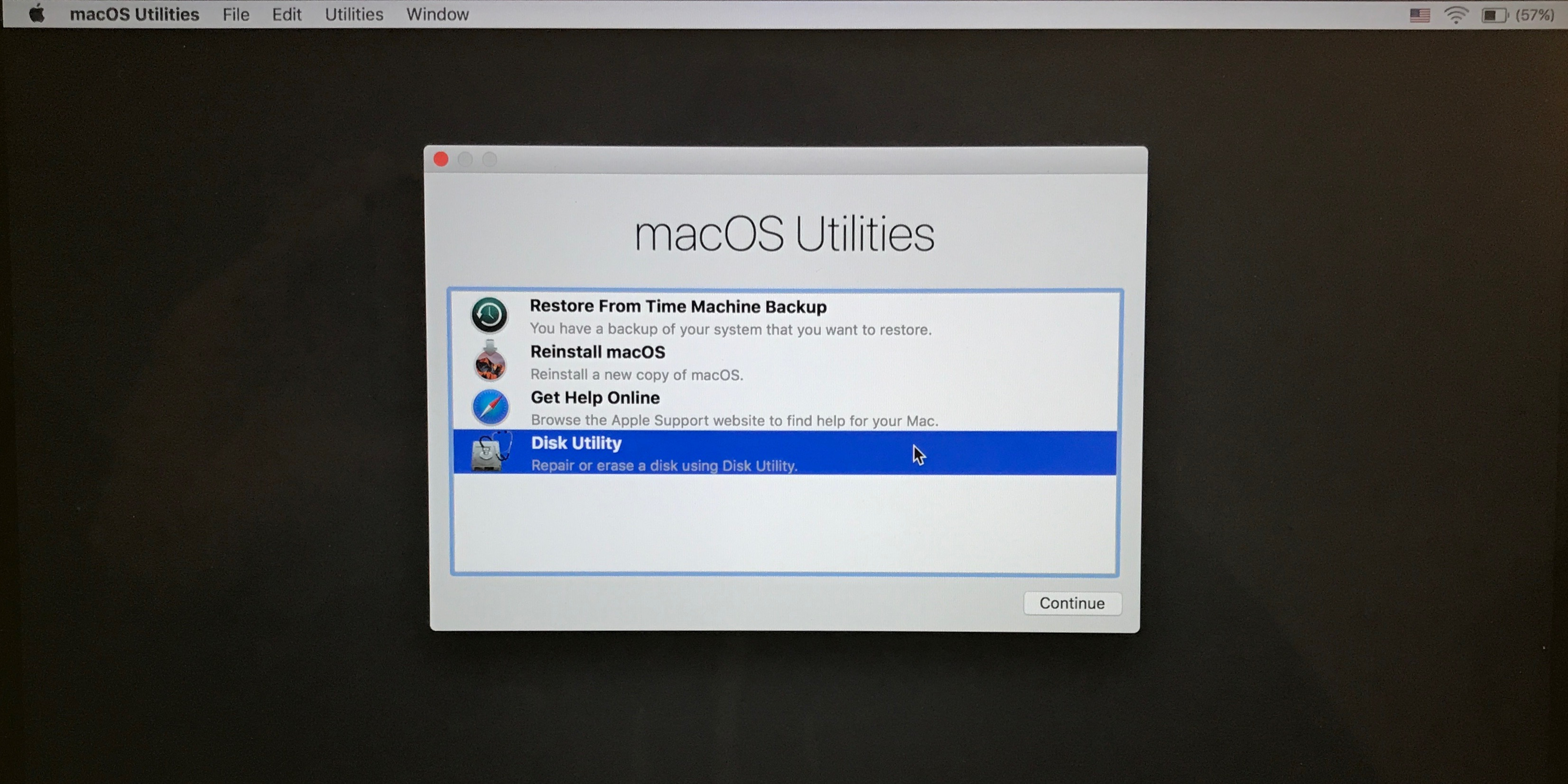 Image of macOS Utilities window in macOS Recovery