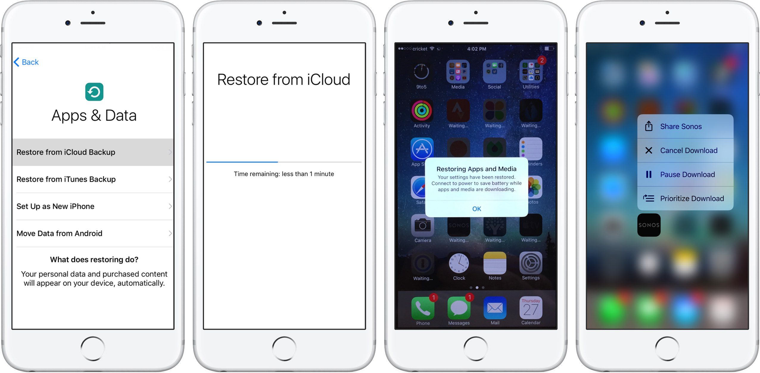 Image showing the process of restoring an iPhone from iCloud backup
