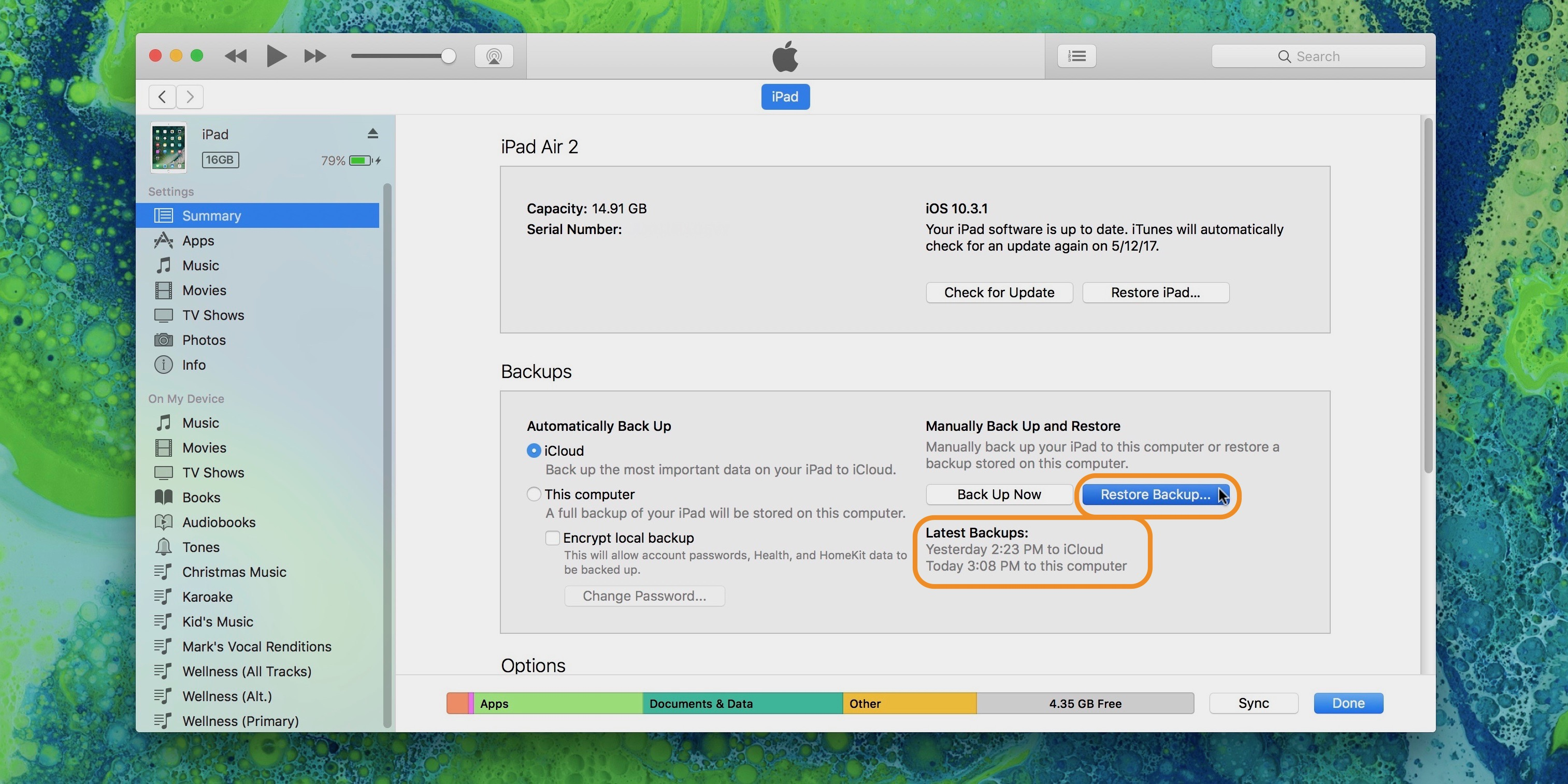 Image showing restore from backup option in iTunes