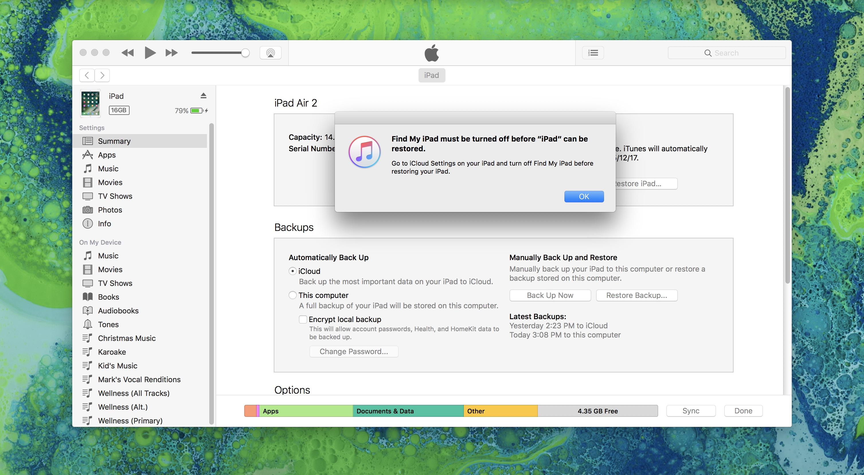 Image showing Turn off Find My iPad warning before restoring from iTunes Backup