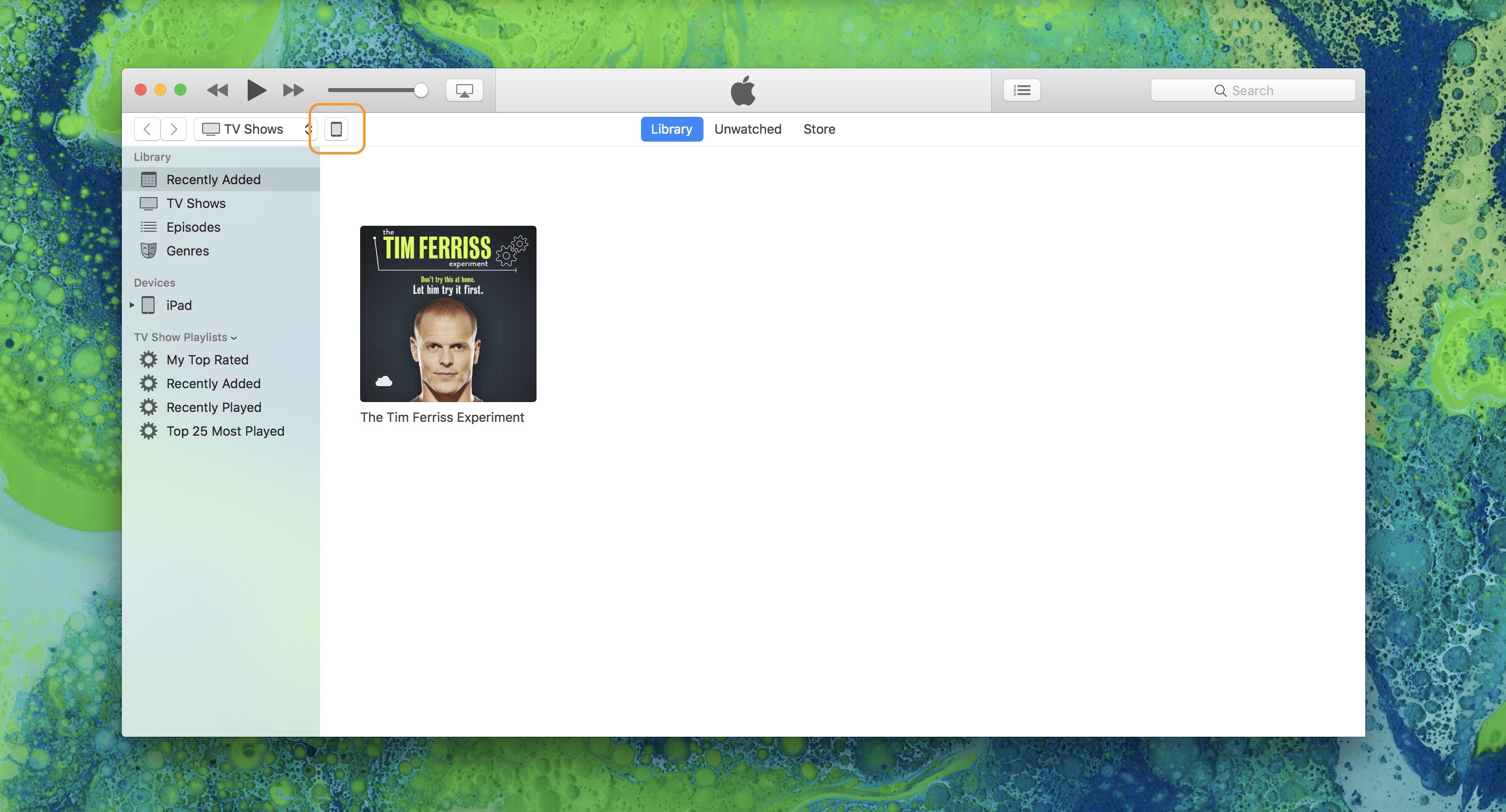 Image showing the iPad icon in iTunes to open the iPad Summary page