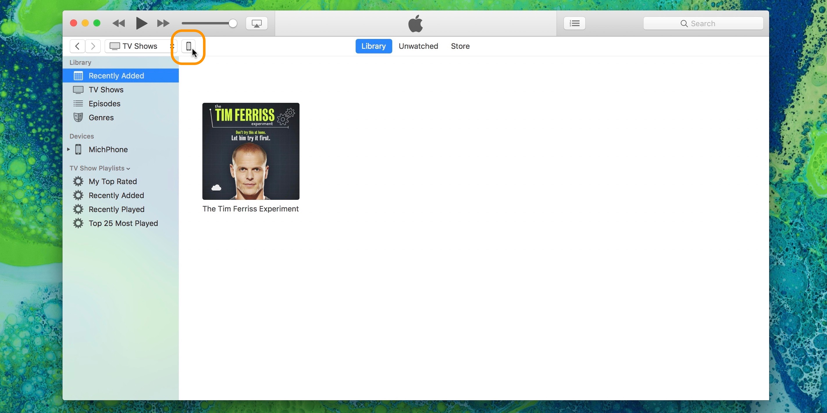 Image showing iTunes before iPhone Summary page is selected or active