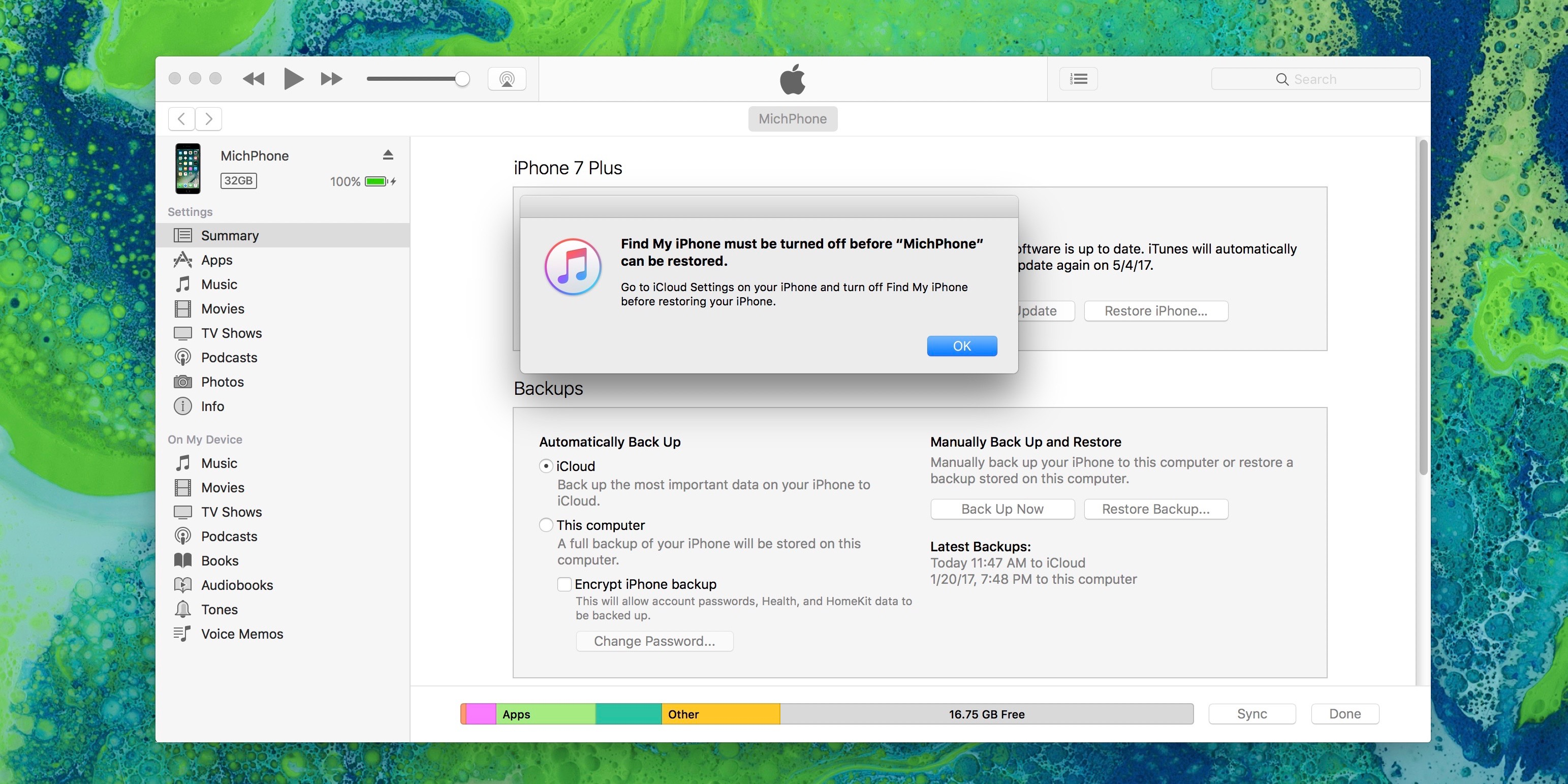 Image showing turn off Find my iPhone warning before restoring from iTunes Backup