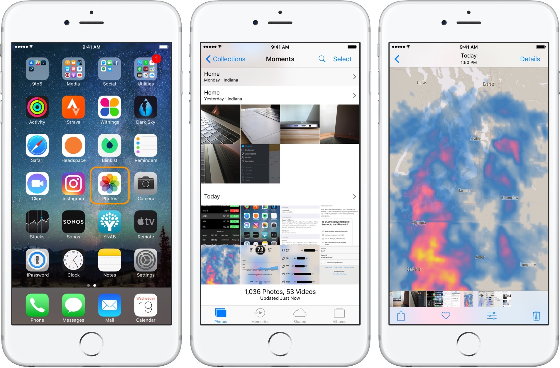Image showing the Photos application on the iPhone Home screen and the screenshots in Photos