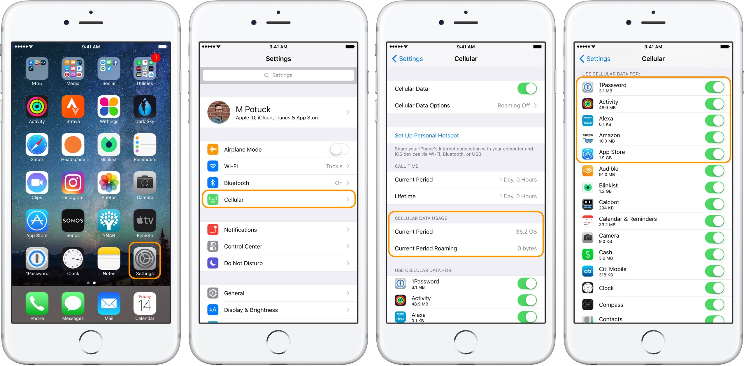 Images showing iOS settings, cellular settings and how much data each app has used