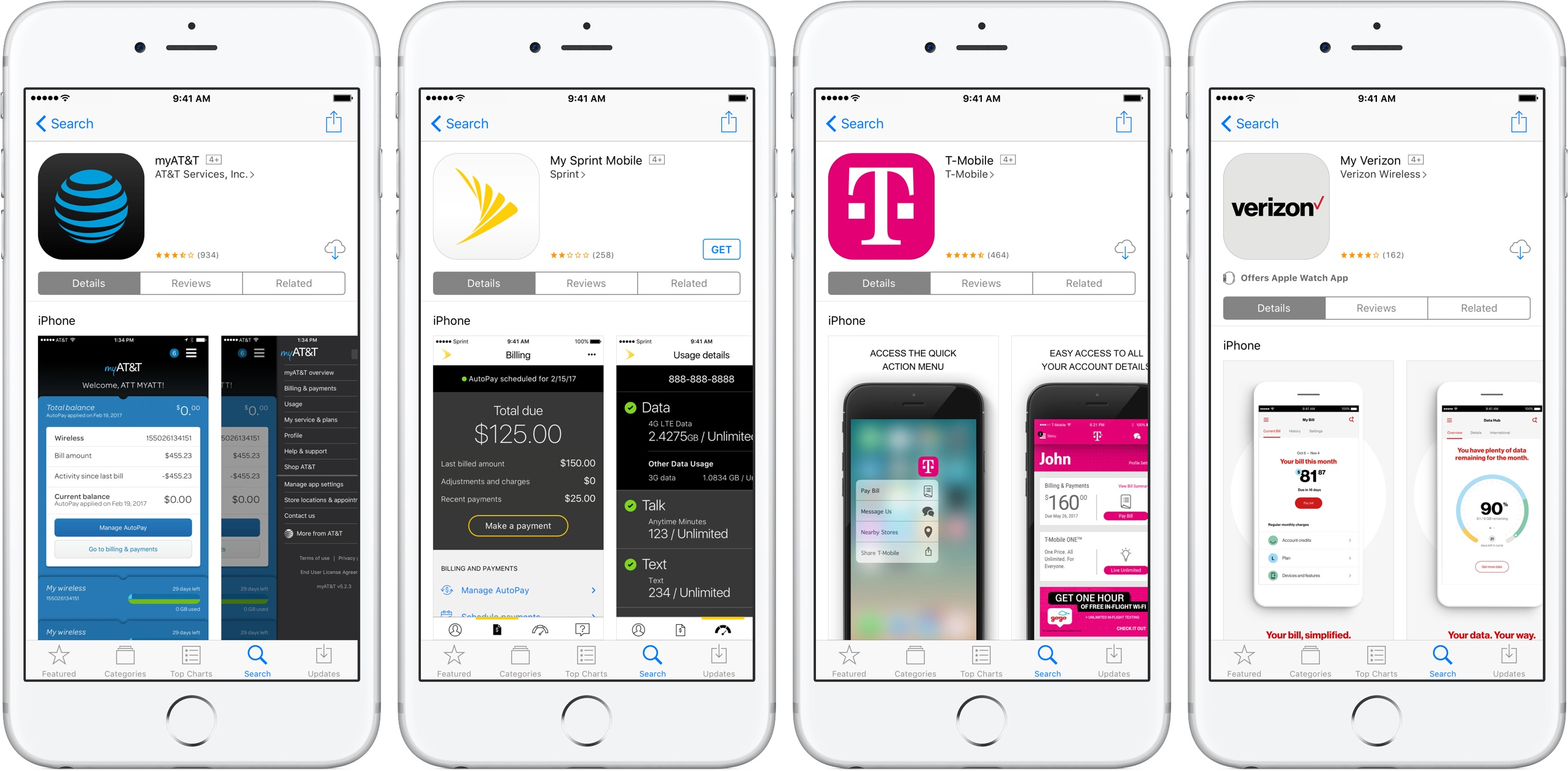 Image showing iOS apps for AT&T, Sprint, T-Mobile, and Verizon
