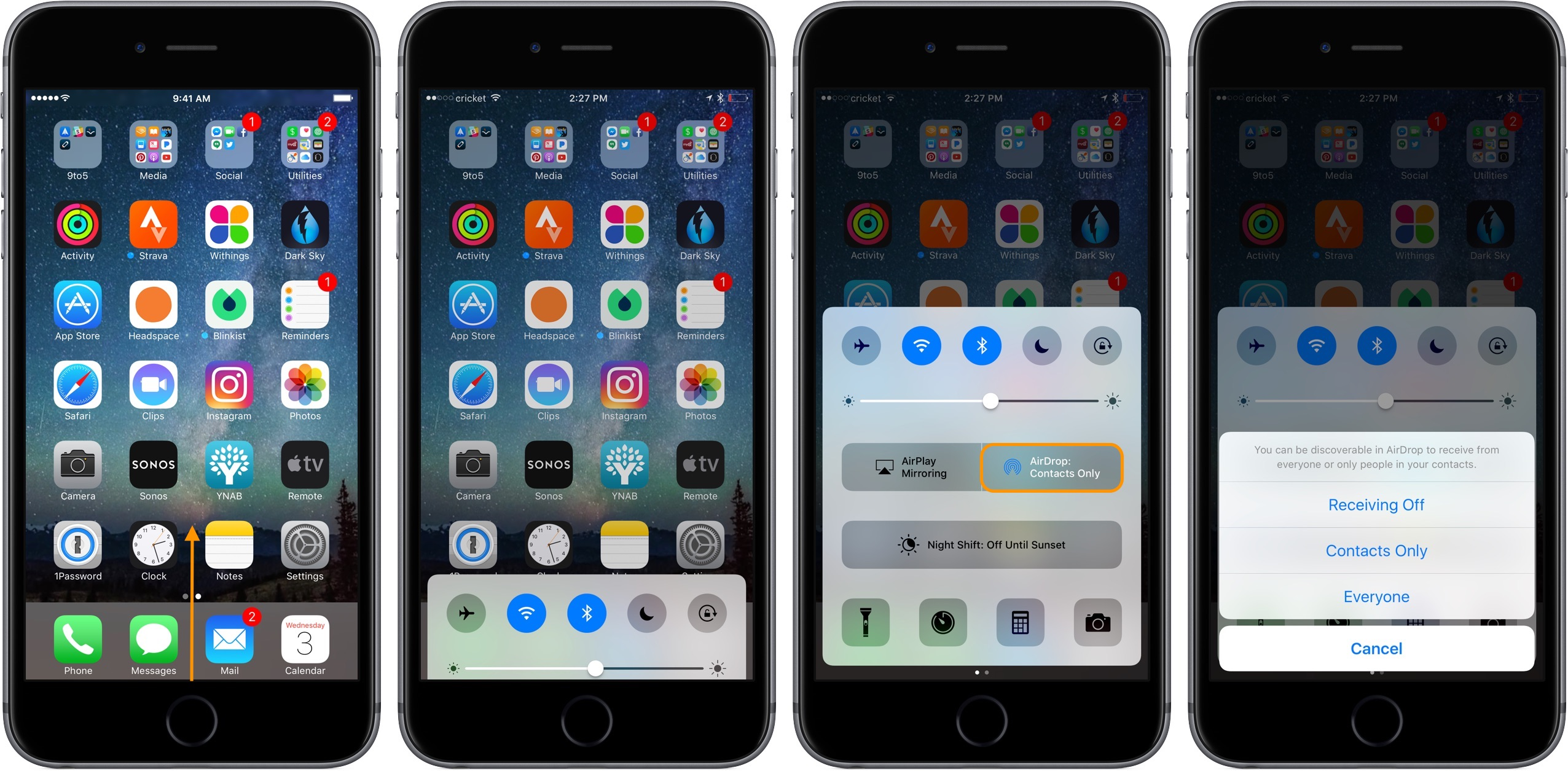 Image showing how to turn on AirDrop in iOS Control Center