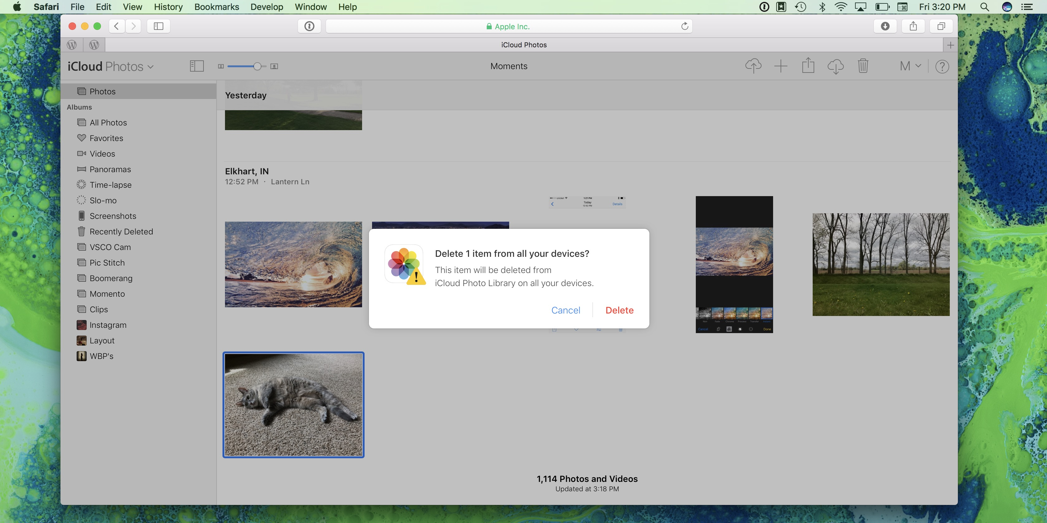 Image showing delete warning in Photos on iCloud.com