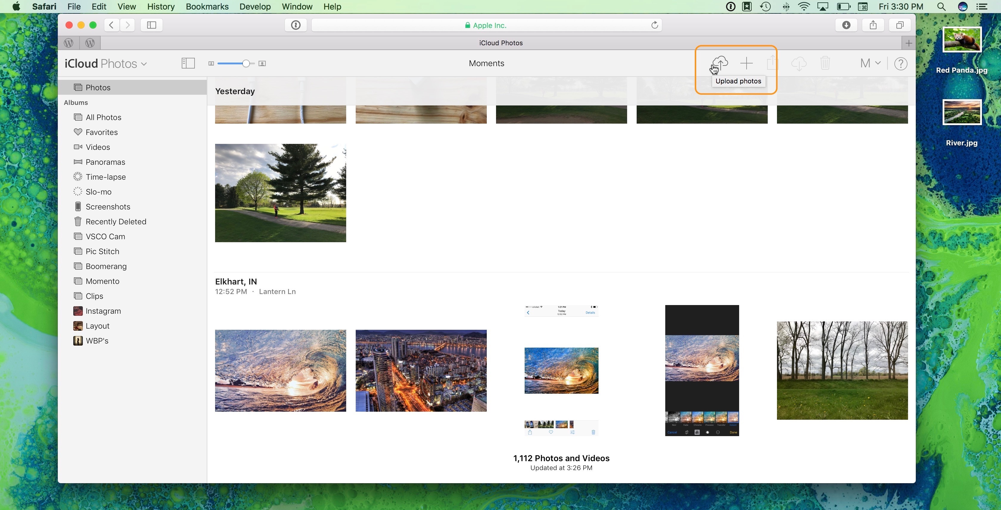 Image showing upload button in Photos on iCloud.com
