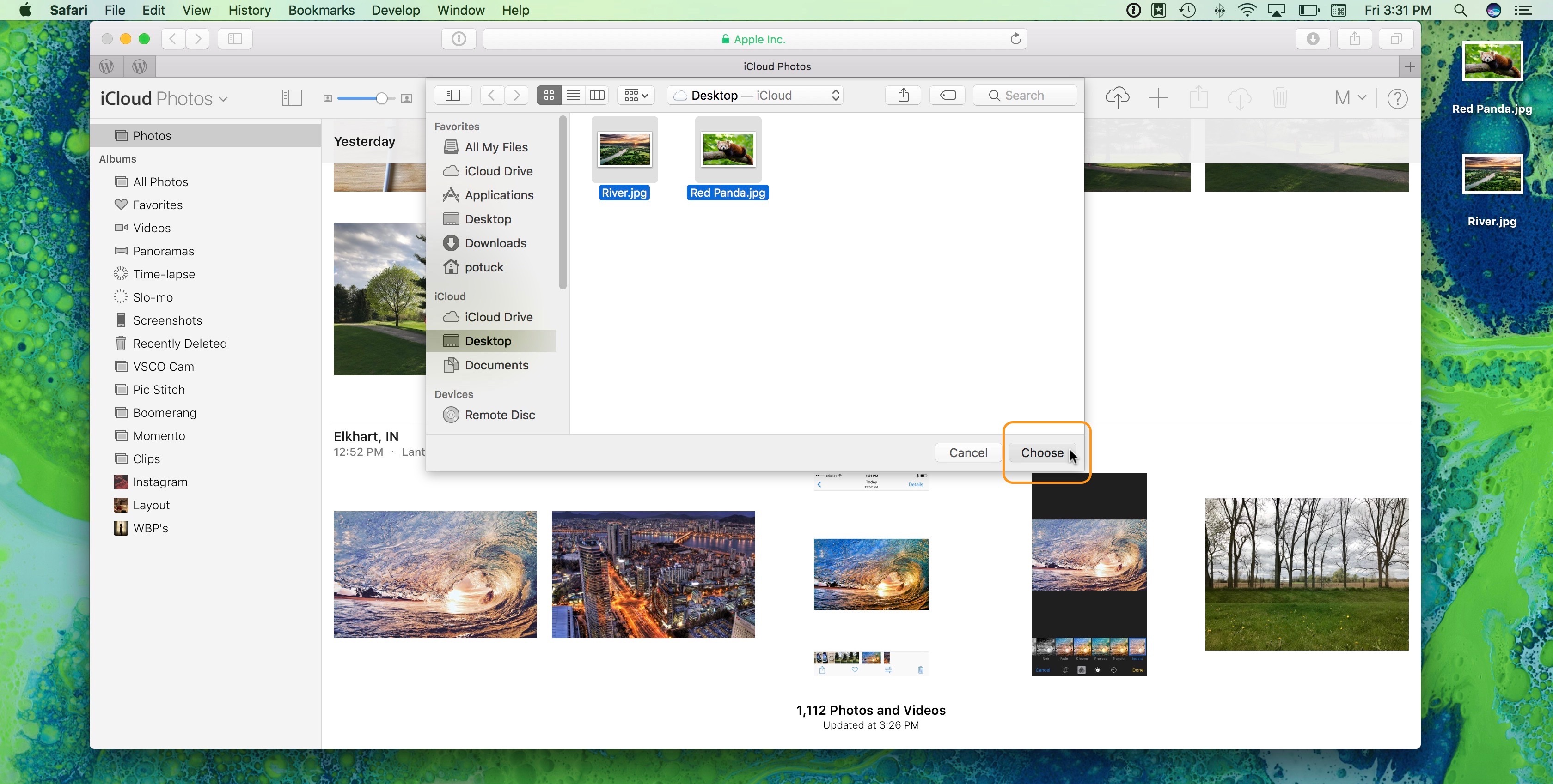 Image showing how to upload photos to iCloud Photo Library from iCloud.com