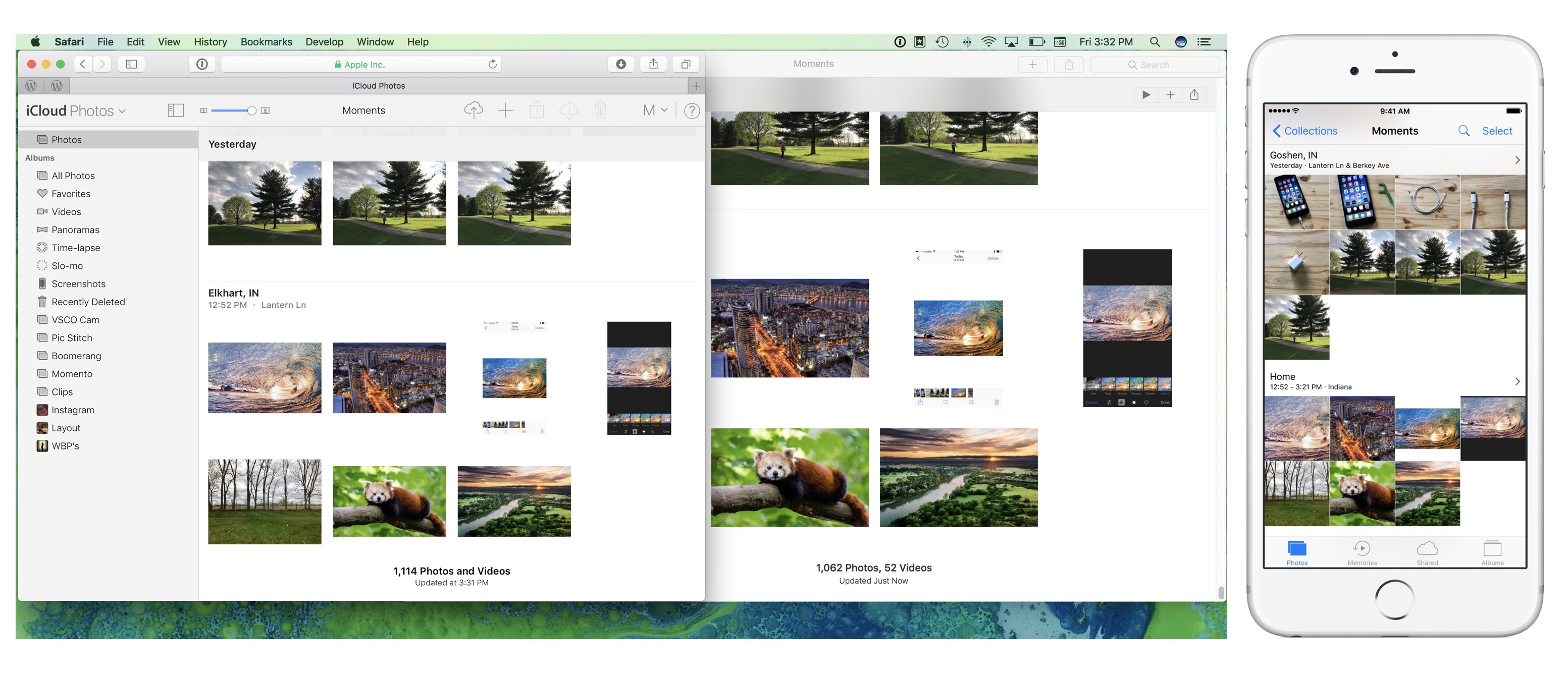 Image showing Photos synchronized across Mac, iPhone, and iCloud.com