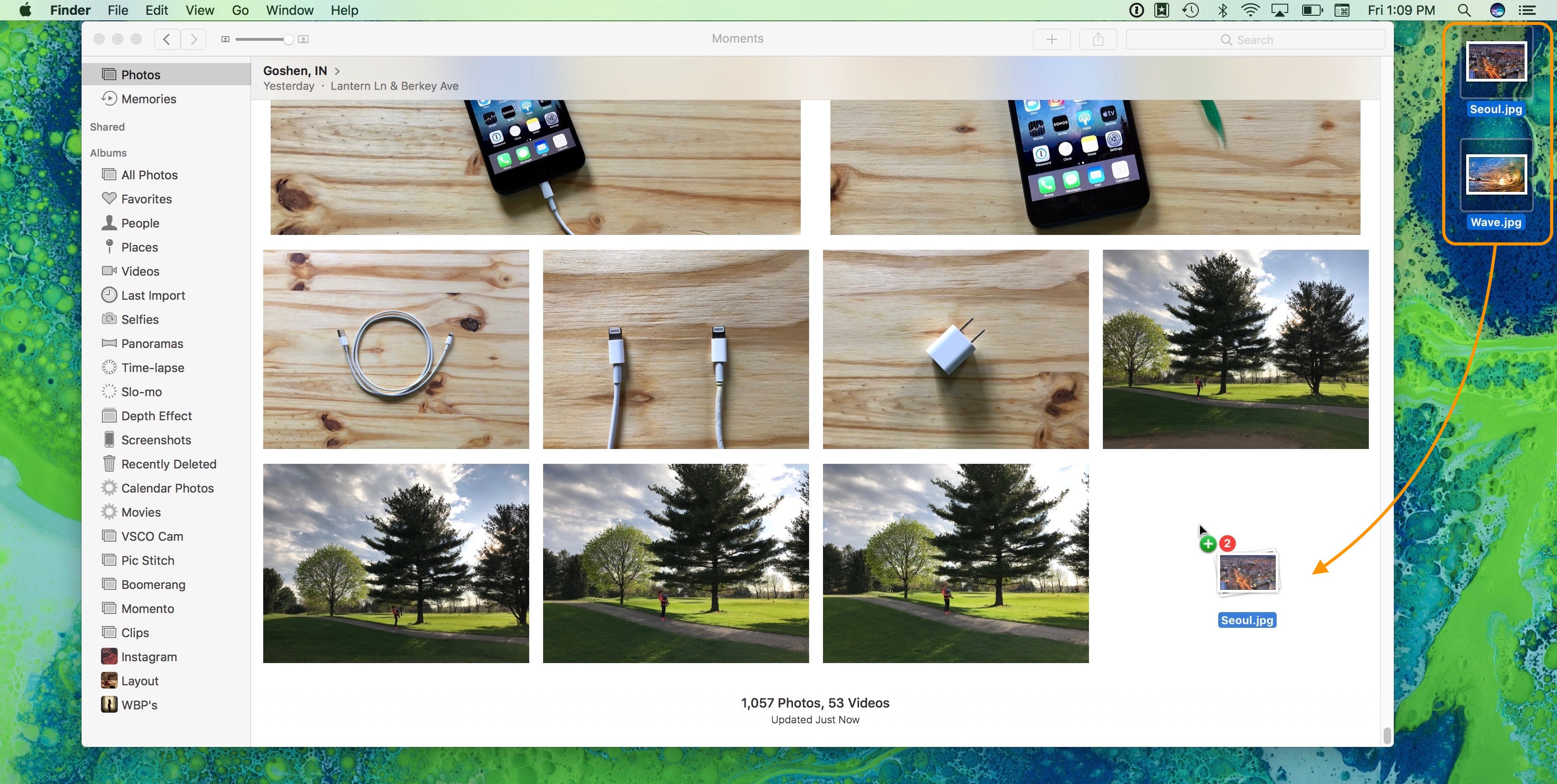 Image showing how to drag and drop photos into the Photos application