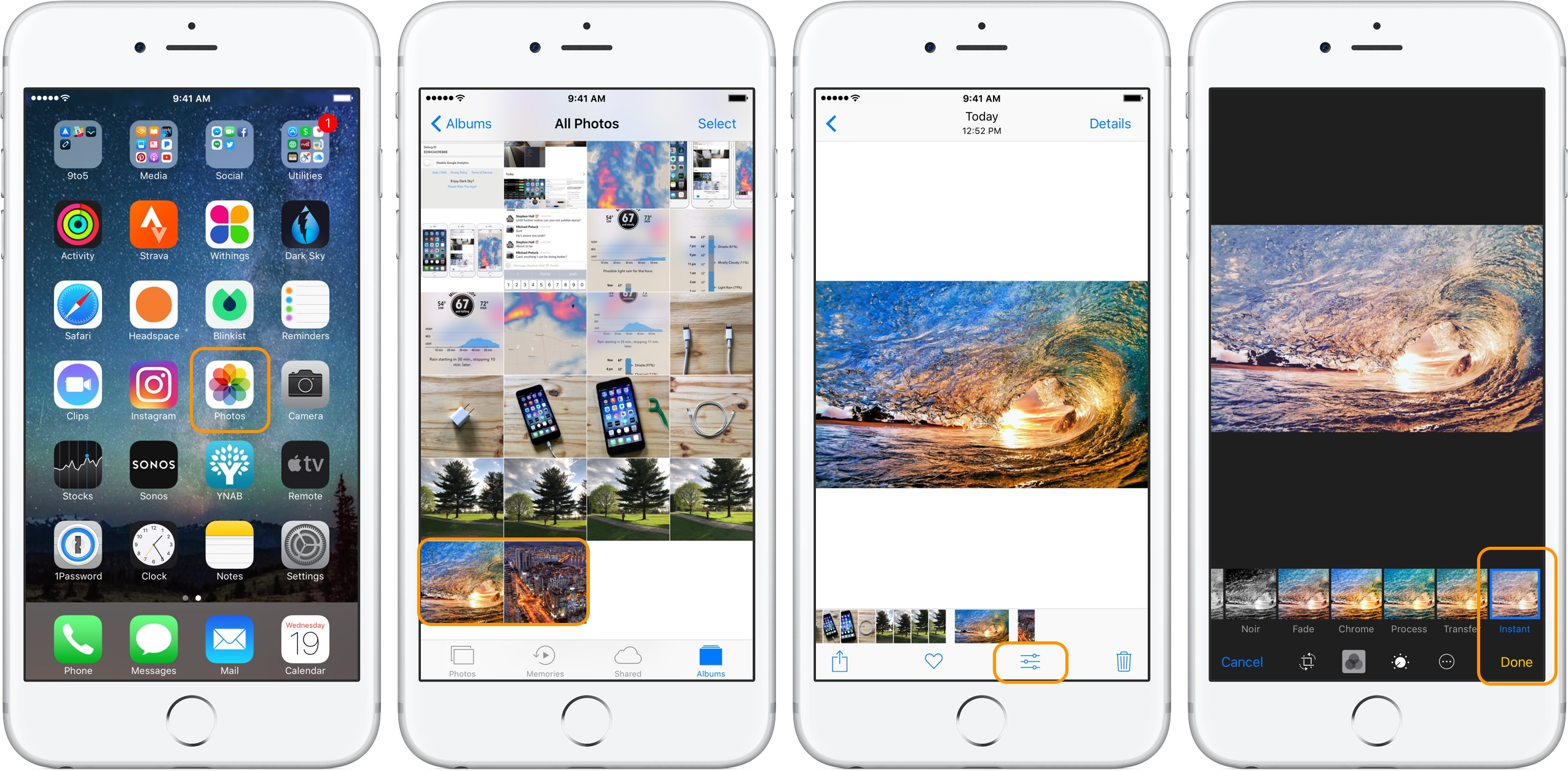 Image showing the Photos application in an iPhone and that the uploaded photos have syncronized