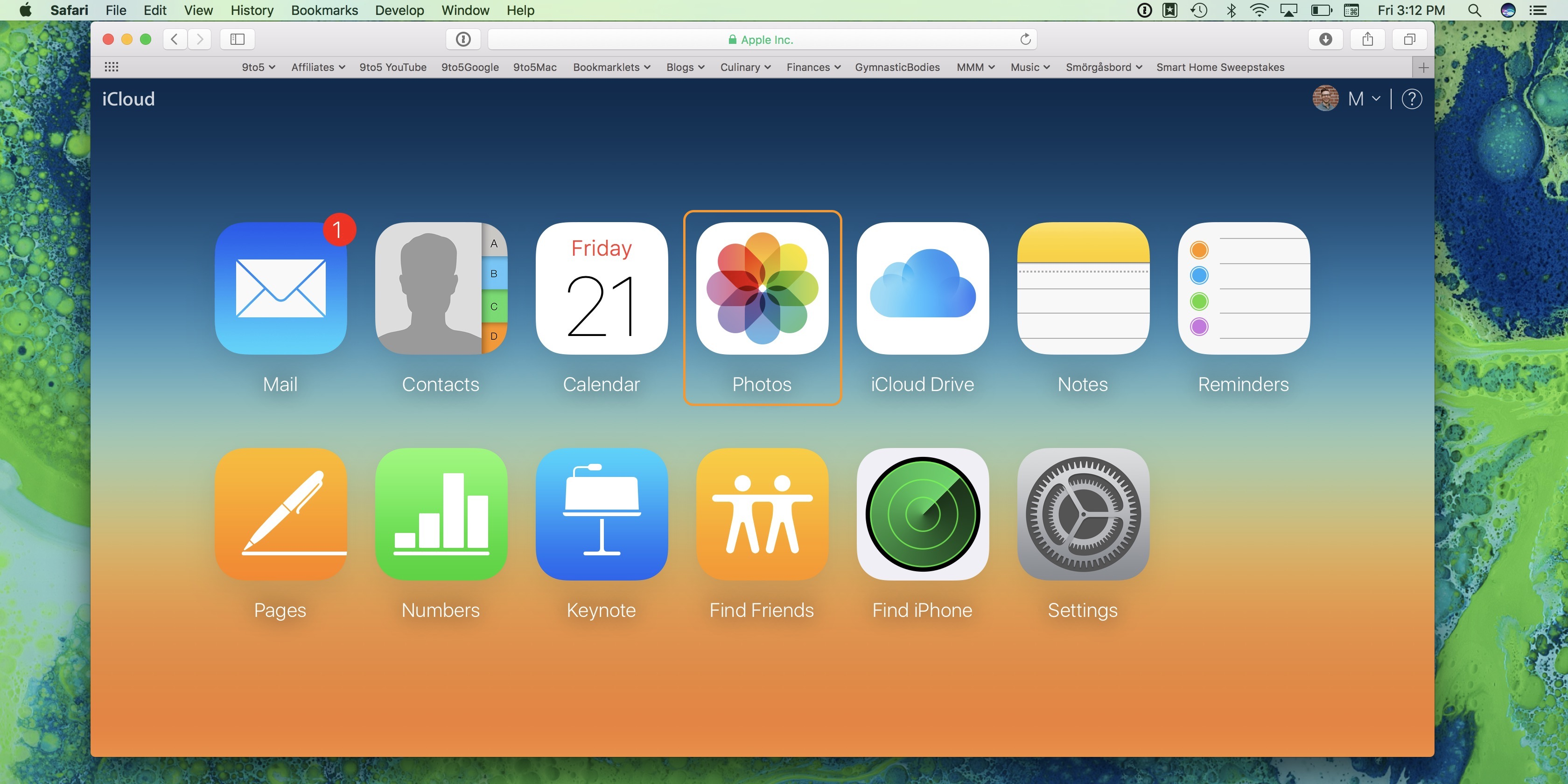 Image showing iCloud.com after logging in with Apple ID and password