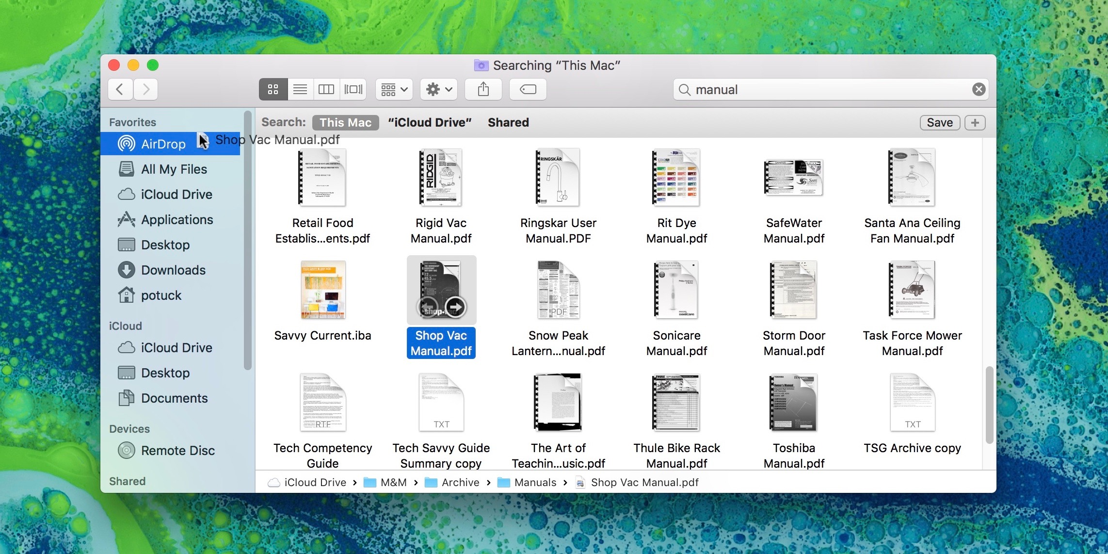 Image showing dragging file to the AirDrop shortcut in Finder's sidebar