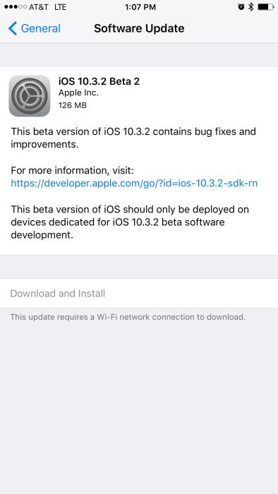 iOS 10.3.2 Beta 2