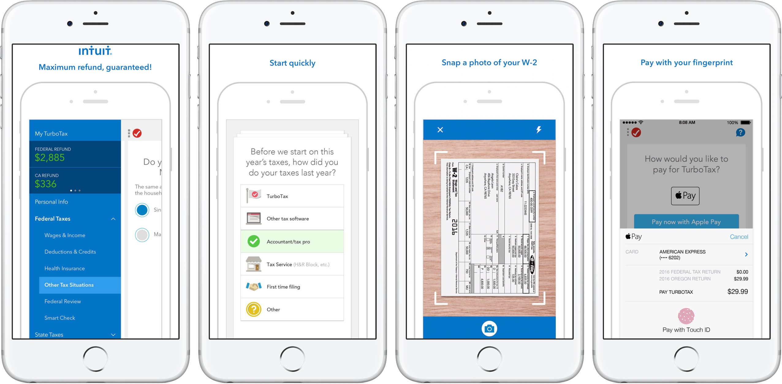 Screenshots of TurboTax app for iPhone