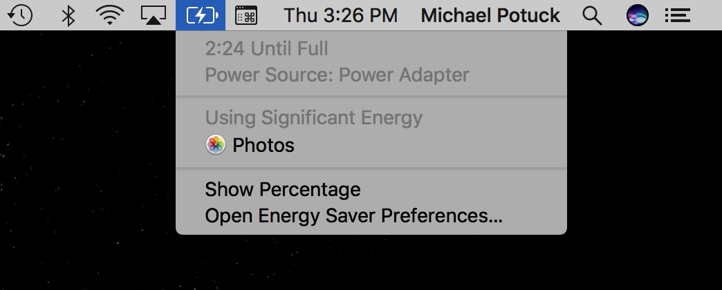 Image showing how to use the battery indicator in the menu bar to see what's using significant energy
