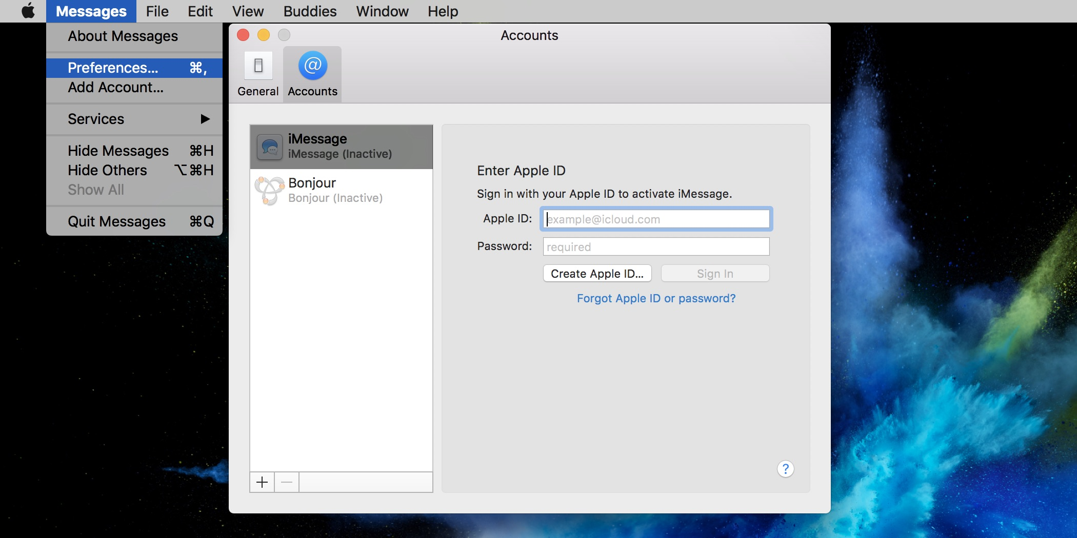 Image showing how to sign in with Apple ID for iMessage in Messages preferences