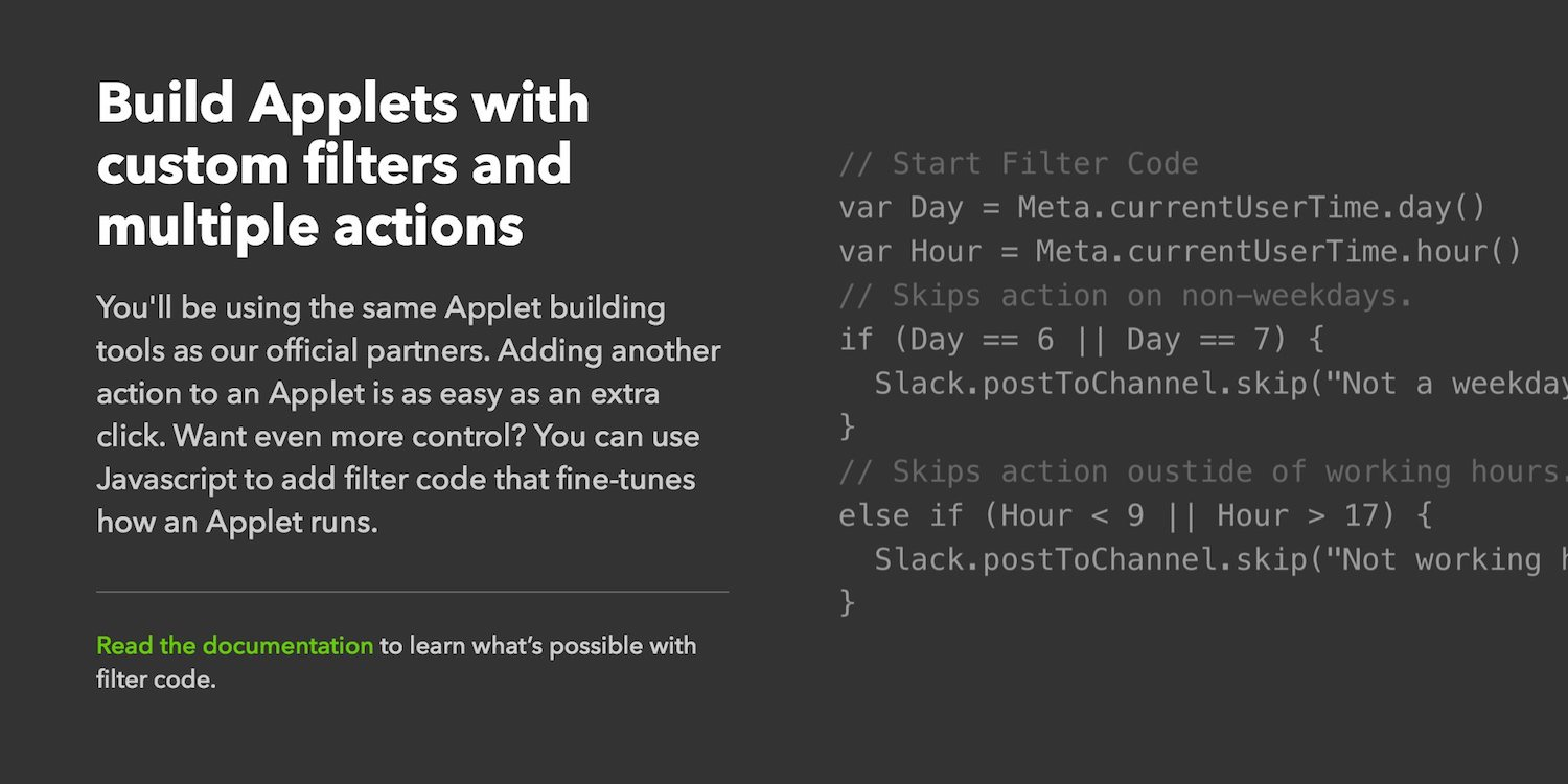 IFTTT Maker tier build Applets with JavaScript
