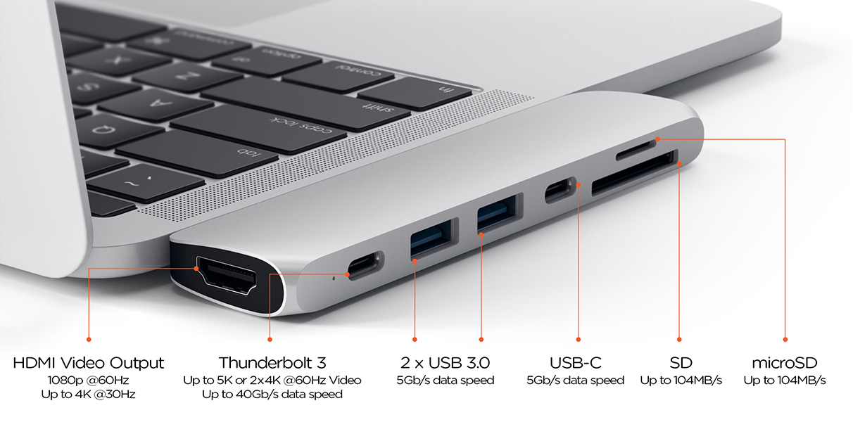 Satech Type-C Pro Hub MacBook Pro 13 and 15 in (Image Credit: Satechi)