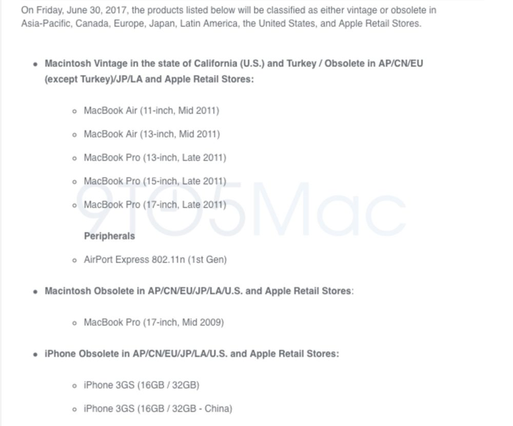 These MacBook Air/Pro, AirPort Express and iPhone models