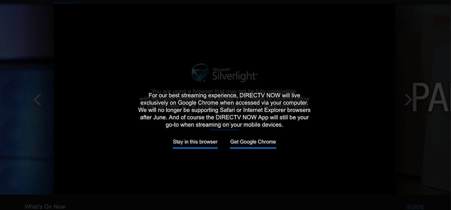 Directv Now Dropping Support For Safari Chrome Exclusive Starting In July 9to5mac