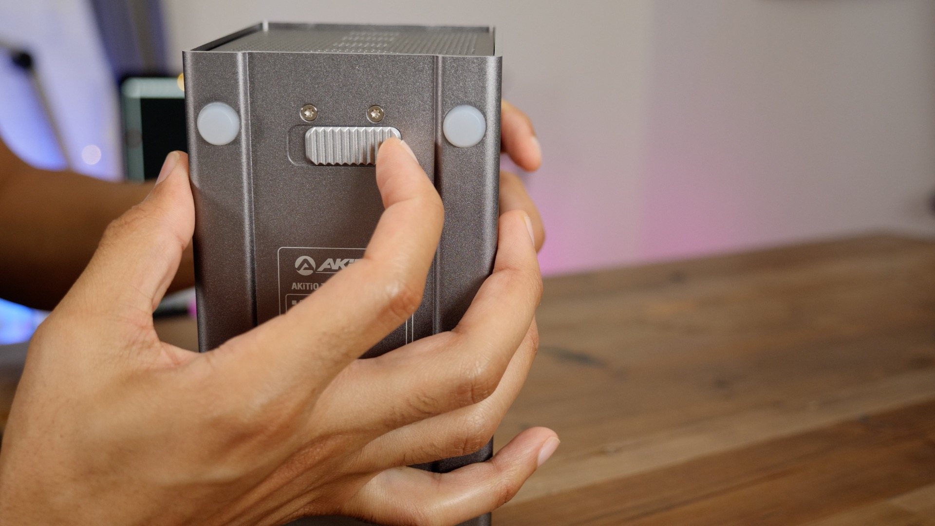 Latch on bottom to access drive door