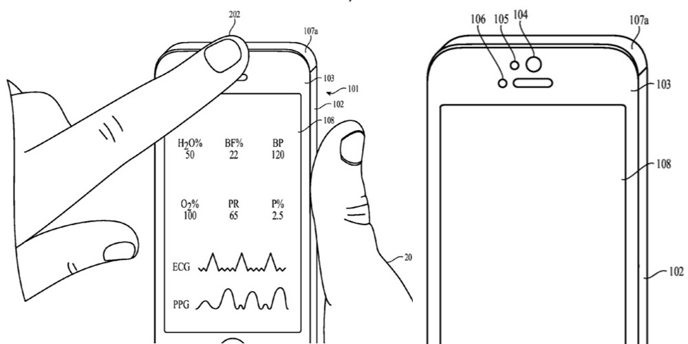 Apple patent describes using the front-facing camera, light & proximity sensors for health measurements