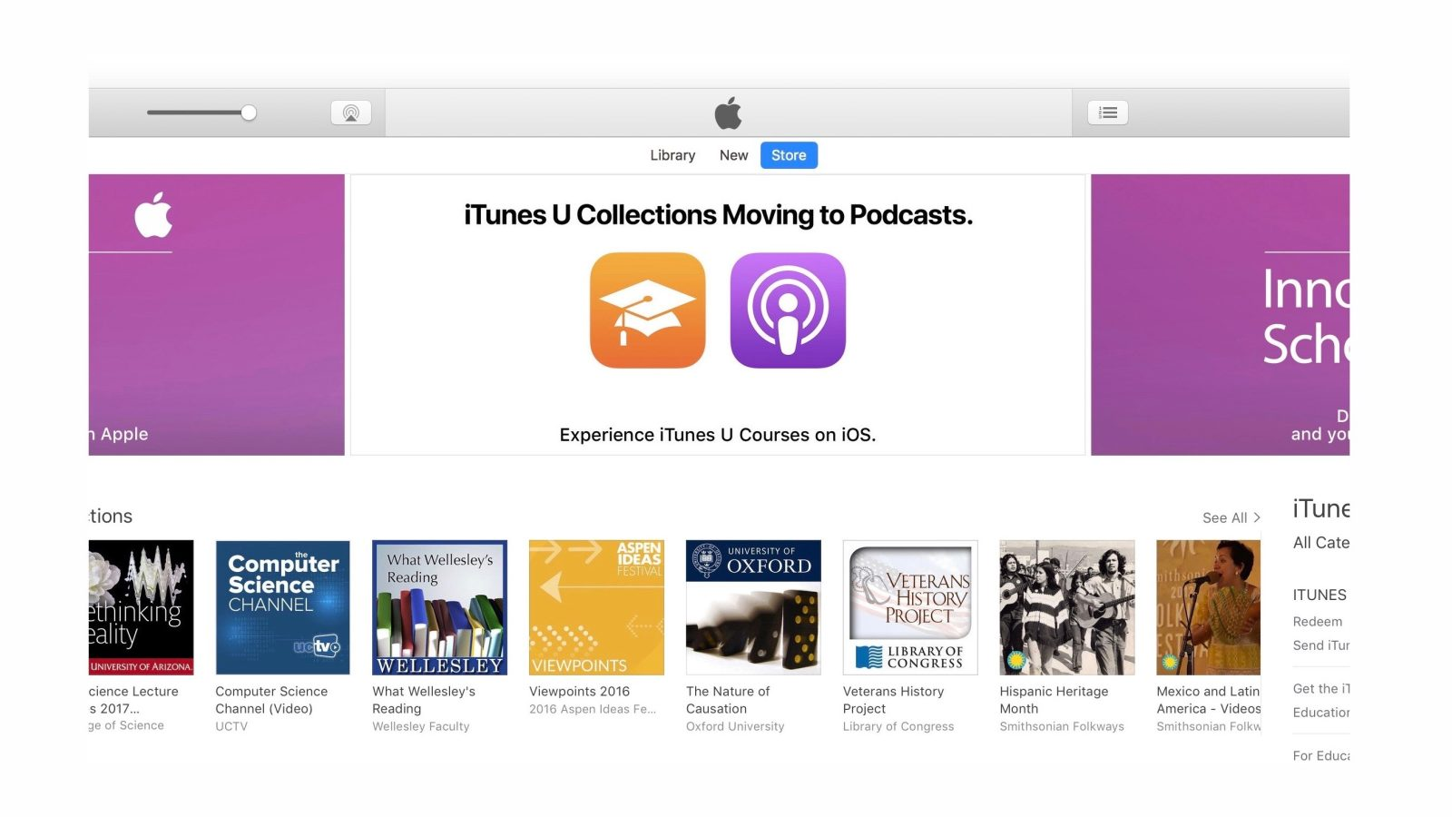 iTunes U Collections officially moved to Podcasts app on iOS