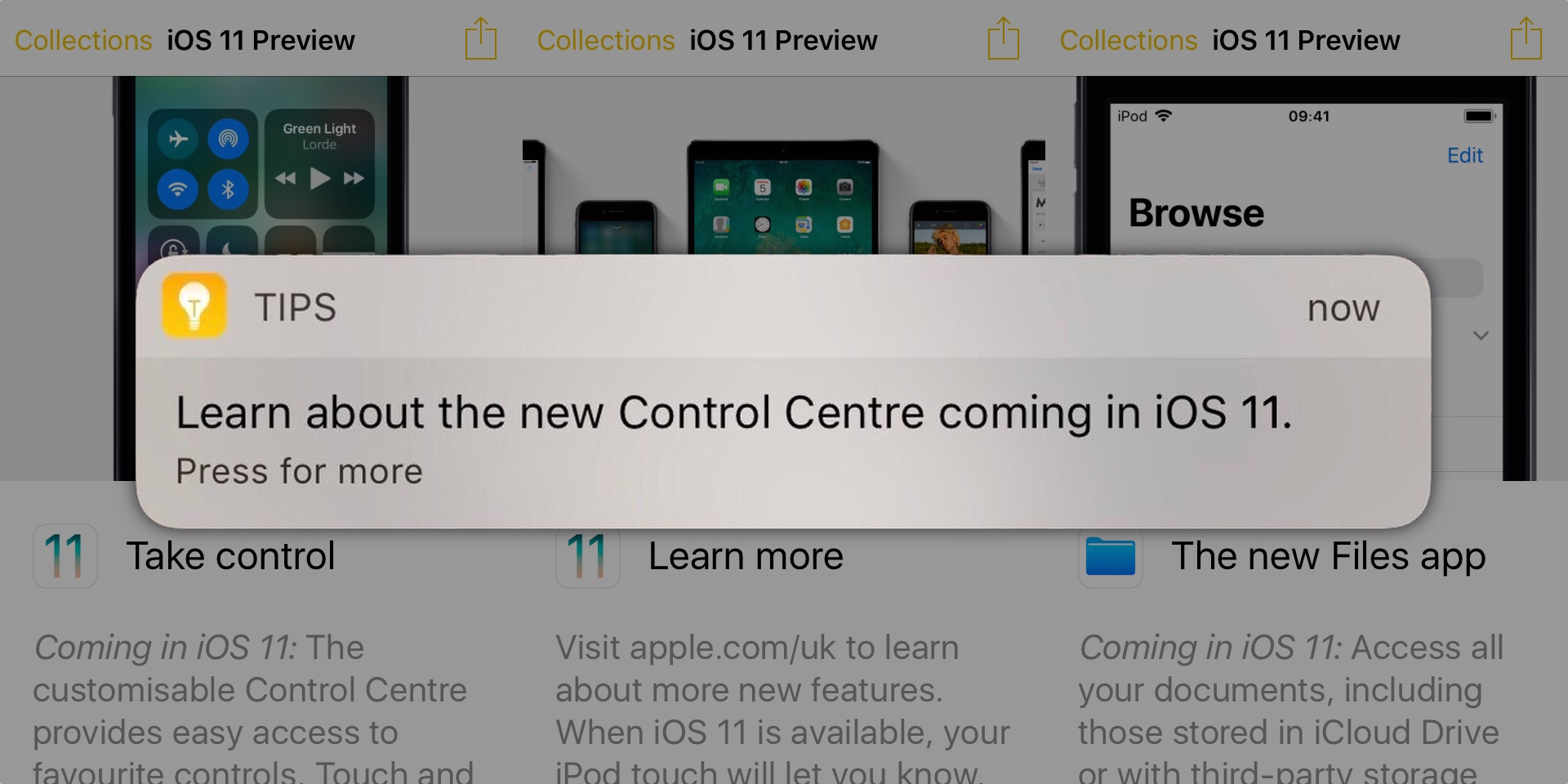 Apple promoting iOS 11 features to iOS 10 users with Tips alerts, ahead of September iPhone event