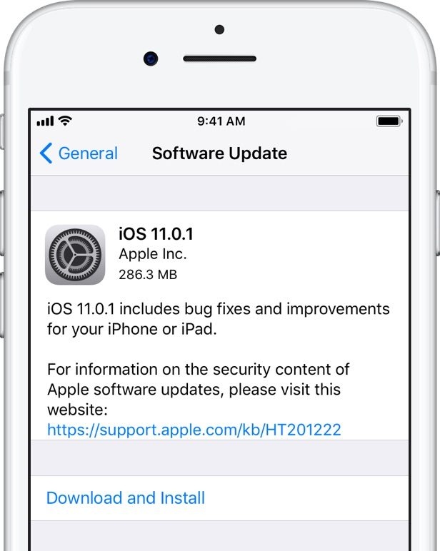 apple releases ios 11 0 1 software update for iphone and