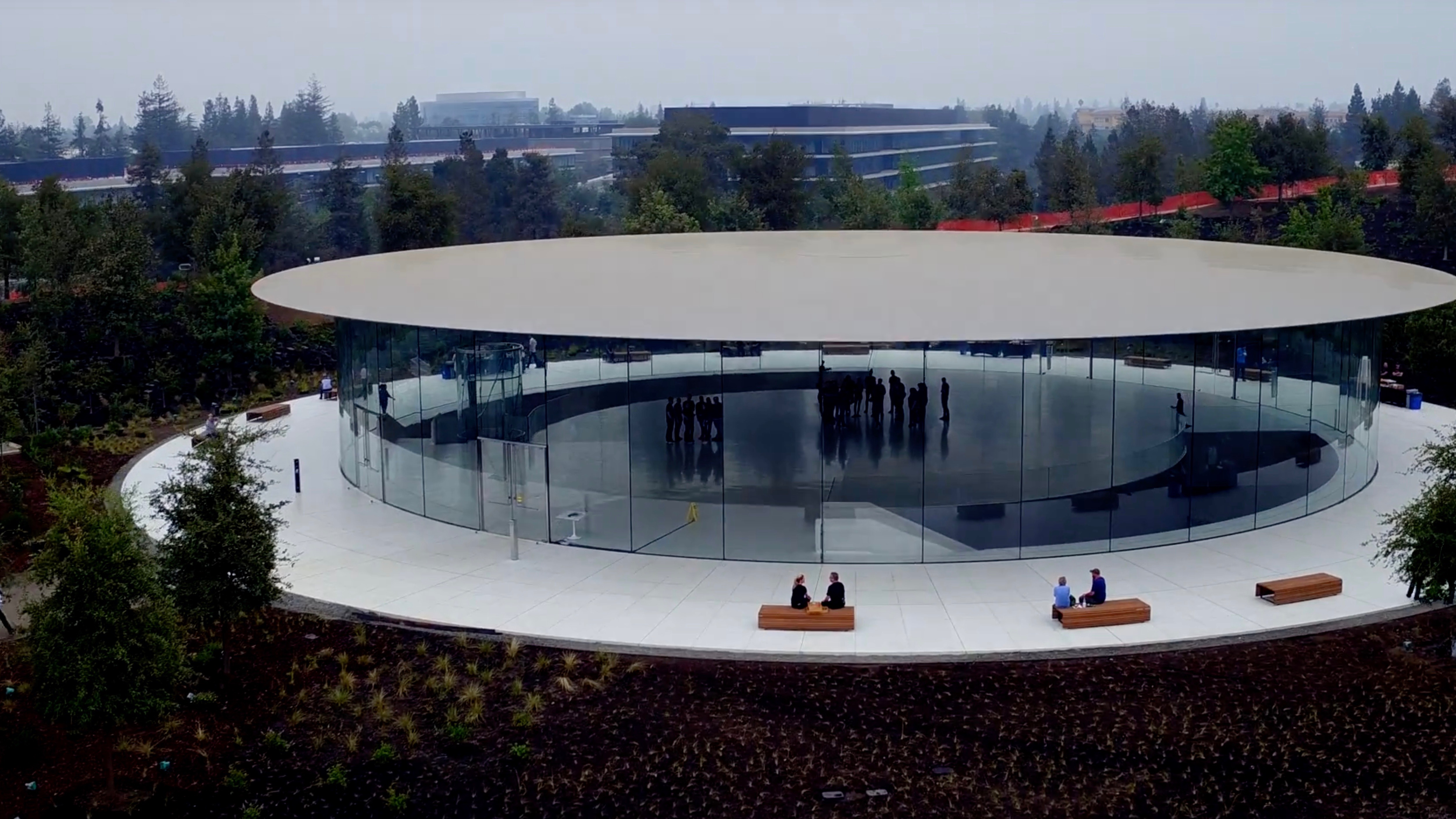 New Drone Video Shows Prep At Steve Jobs Theater In Lead