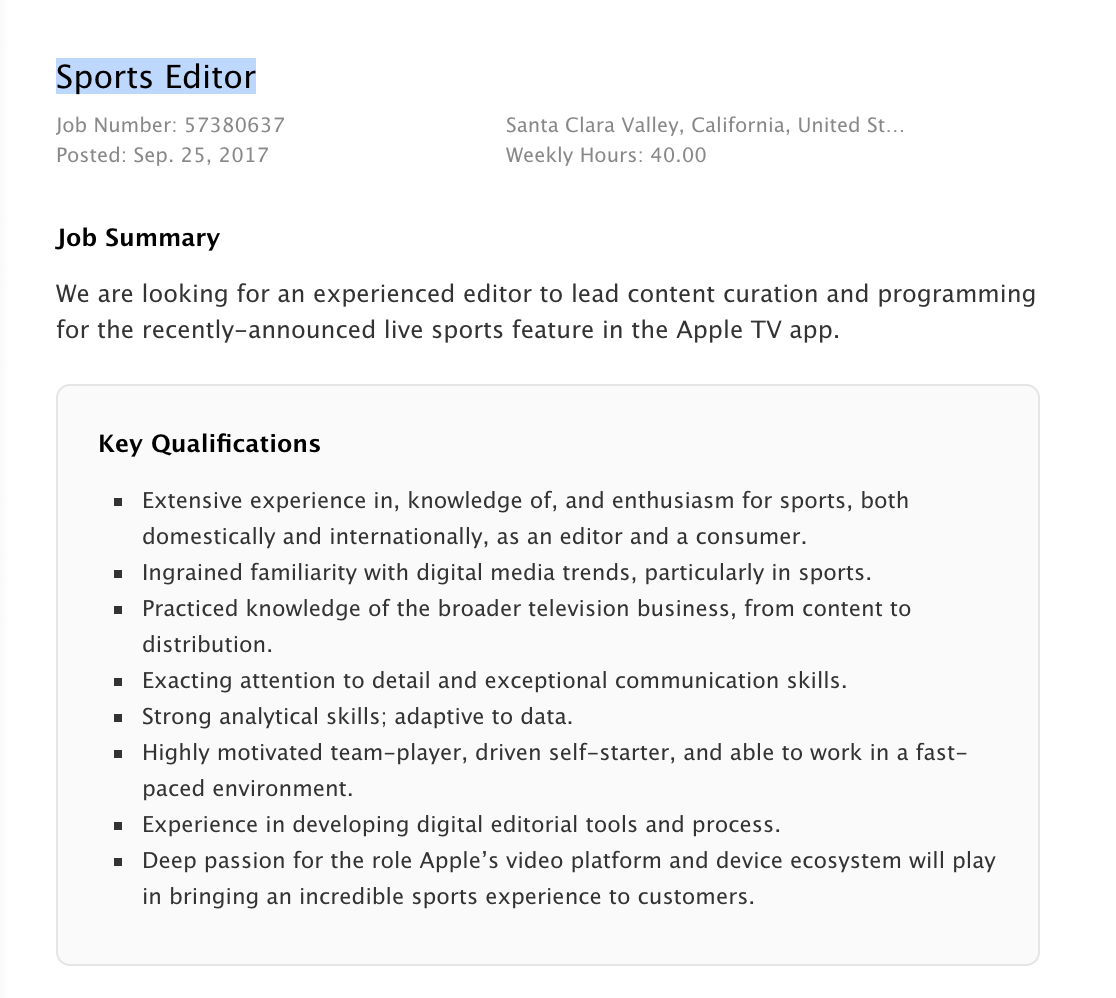 Apple looking for sports editor to curate TV app's new live sports features
