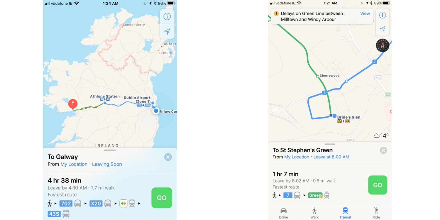 Map Of Dublin 6 Ireland.Apple Maps Now Offers Public Transit Directions For Ireland 9to5mac